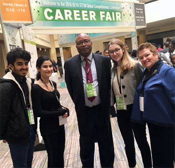 Color of STEM VP Curt Simmons and NGY Founder and ASTRA's Futurist, Dr Ronnie Lowenstein, guided our Team  Abdul Khan, Phoebe Tomsu through the BEYA Career Fair