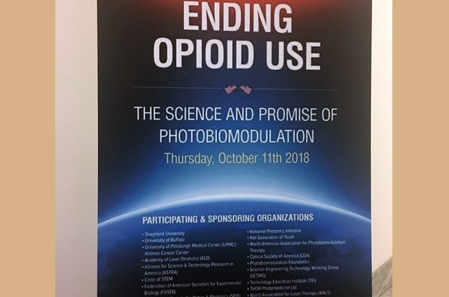 """Poster heralding the Congressional Briefing "" Ending Opiod Use:A New Hope,"" held in the Rayburn Office Building On October 11,2018 and  Co sponsored by ASTRA, the Global NetGeneration of Youth and 15 other Science and Medical Organizations"